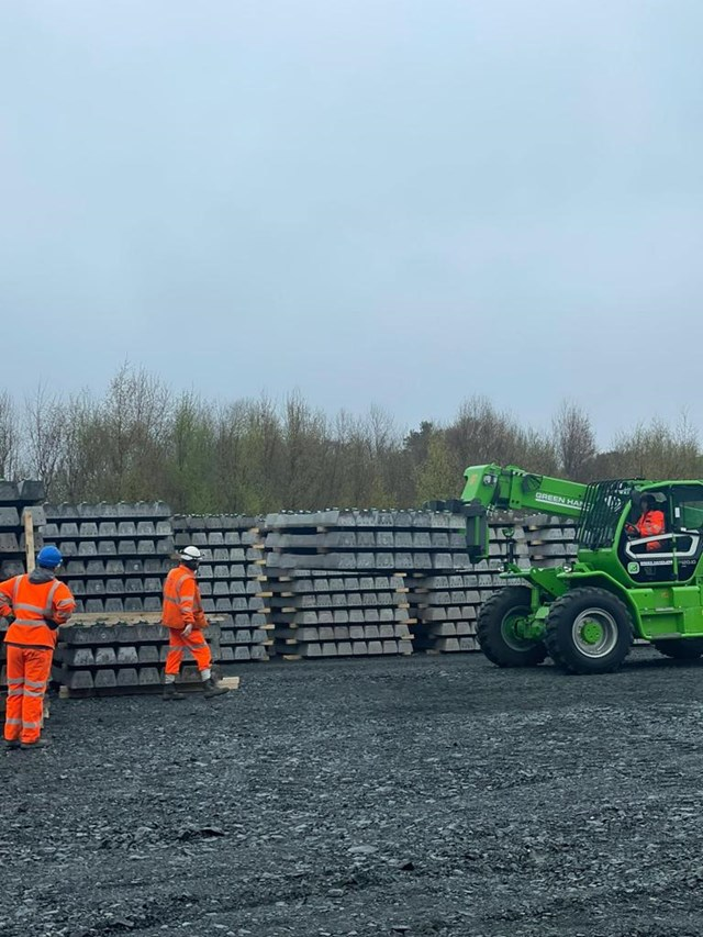 Sleeper delivery to Thornton Yard, Fife: 16,000 Sleepers were delivered to Thornton Yard over a 4-week period and will form part of the new Leven railway