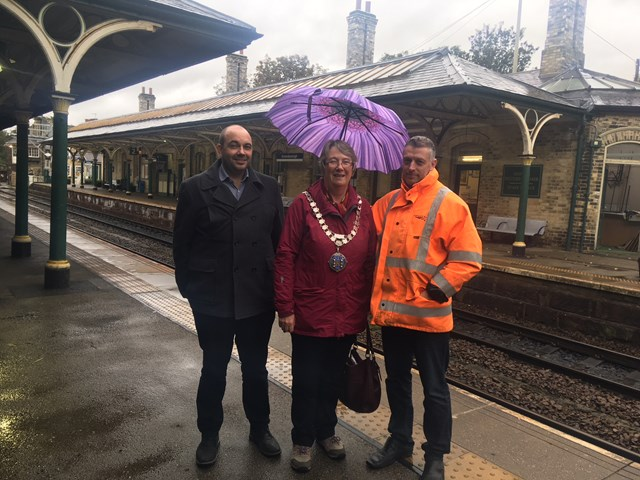 Network Rail completes major upgrade to roof at Knaresborough station: L to R Mark Bloor, Route Asset Manager for Network Rail, Cllr Christine Willoughby, Mayor of Knaresborough, Mark Osborne, Site Manager for Works Delivery for Network Rail