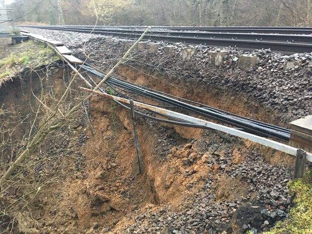 Network Rail engineers work non-stop to reopen Clacton on Sea branch line: Landslip at Thorrington