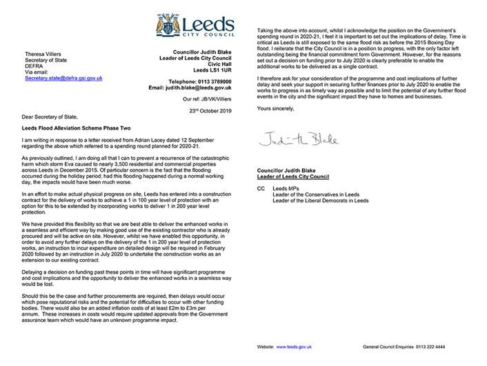 Council leader calls on government for decision over Leeds Flood Alleviation Scheme funding: villiersrefloodalleviationschemephase2-23.10.19-combined-292456.jpg