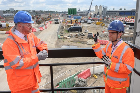 HS2 Minister Andrew Stephenson visits the Old Oak Common Station site: Credit: HS2 Ltd