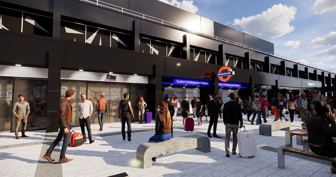 Computer image of new external London Underground entrance at Euston Station