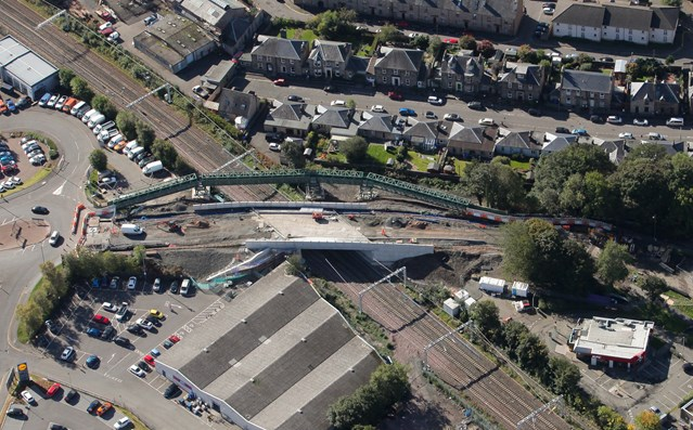 Network Rail to remove temporary footbridge at Kerse Road, Stirling: 2 OCt Kerse Rd Aerial