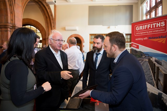 Assembly event celebrates the economic impact of the railway across Wales and Borders: Pete Waterman with Alun Griffiths