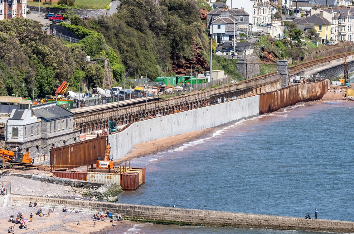 Good progress being made on second section of Dawlish sea wall