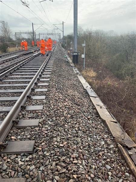 Engineers assessing landslip damage at Hillmorton Junction which happened on January 27