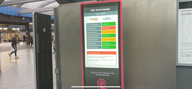 Example of a rainbow board displayed in a station
