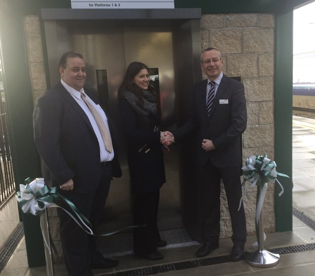 Opening of Chippenham station's new footbridge and lifts: L-R: Martin Hardy, Great Western Railway's regional retail manager; Michelle Donelan MP; Mark Langman, Network Rail's managing director for the Western route.