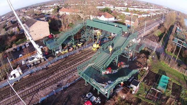New footbridge installed over the railway in Hertfordshire in a step to improve safety: Trinity Lane footbridge
