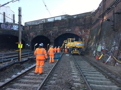 Slab track renewal taking place at Kentish Town, Camden, on 28 December 2017 (2)