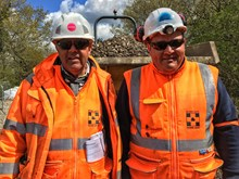 Wrecclesham Landslip, April 2016.Trevor and his son Mark are part of the orange army working to repair the railway in Alton. Between them they have 35 years experience in the railway industry