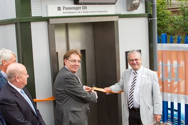 Passengers benefit from improved access at Goring & Streatley railway station as new footbridge and lifts open: Network Rail chairman Sir Peter Hendy and John Howell, MP for Henley-on-Thames, open the new footbridge and lifts at Goring & Streatley
