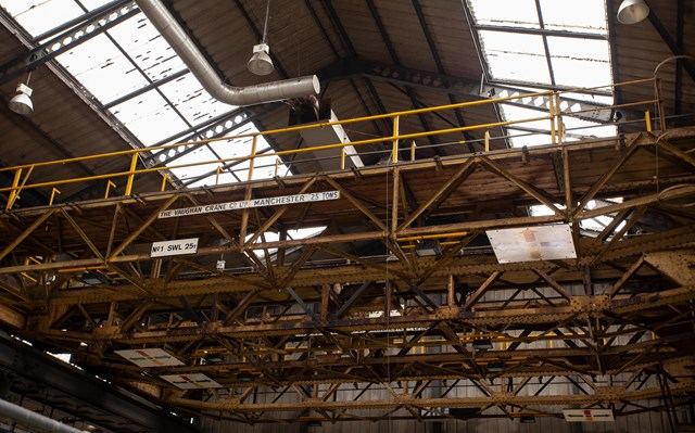 chart leacon: One Chart Leacon's old cranes used for lifting trains between tracks and off their wheels