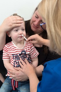 Finlay Warburton receives his flu vaccination