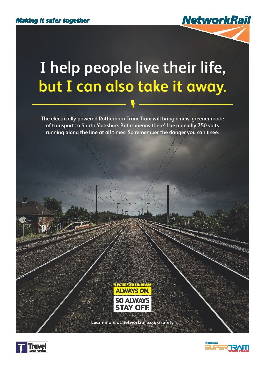 Safety reminder as Tram Train project continues: Tram Train electrical safety poster-2