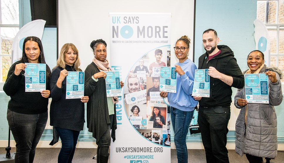 UK's first community-based 'safe spaces' for people fleeing domestic violence launched in Islington: Islington Says No More ambassadors from St Giles Trust, Age UK and Islington Council
