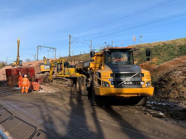 Machinery on site at Hillmorton Junction landslip repair