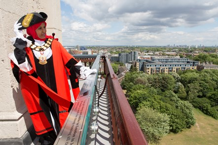 The Mayor of Islington, Cllr Rakhia Ismail, at the top of the newly opened Caledonian Clock Tower