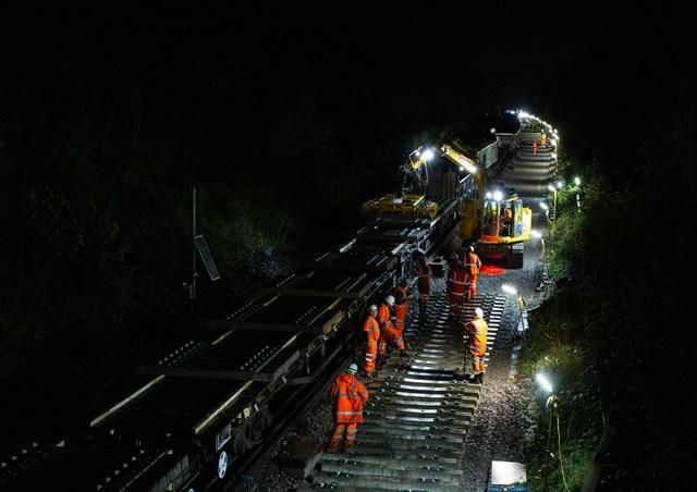 Engineering work at night