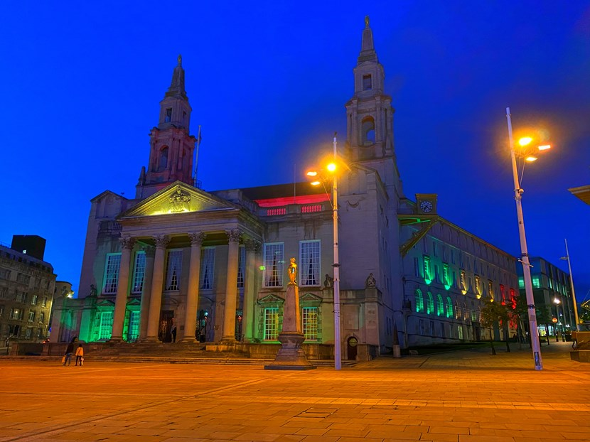 Leeds City Council's buildings illuminated to mark the start of Black History Month: Black History Month Civic Hall