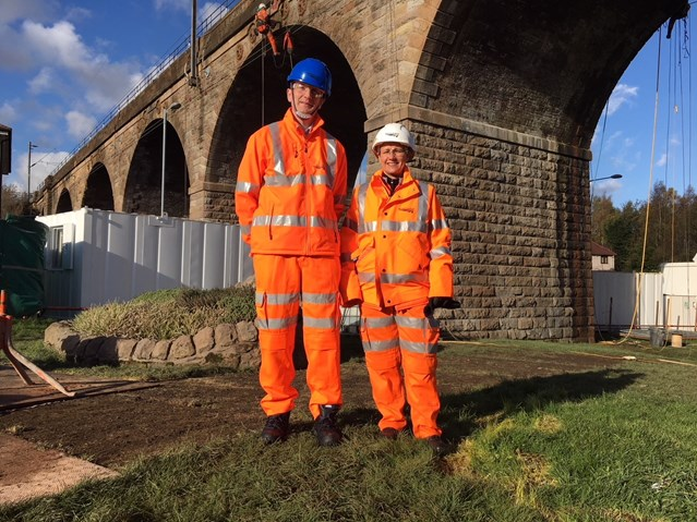 Fulton MacGregor MSP visits Coatdyke viaduct works to view progress: 2 Nov MSP and PM 1  Large