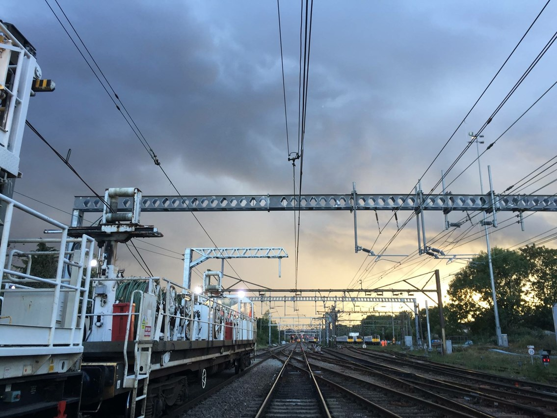 Reliability boost for rail passengers travelling between Norwich and London this bank holiday: Overhead wire renewal on Great Eastern Mainline