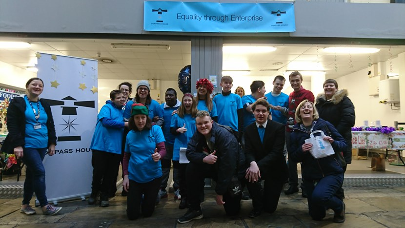 Students spread Christmas cheer with 'Compass House' pop up shop in Kirkgate Market: groupphoto-kirkgatemarket-160435.jpg