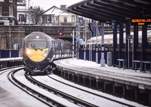 Class 395 in snow at Gravesend 3