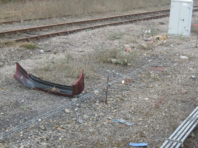 RAIL CLEAN UP WORK GETS BARRY TIDY: Car bumper dumped near Barry station