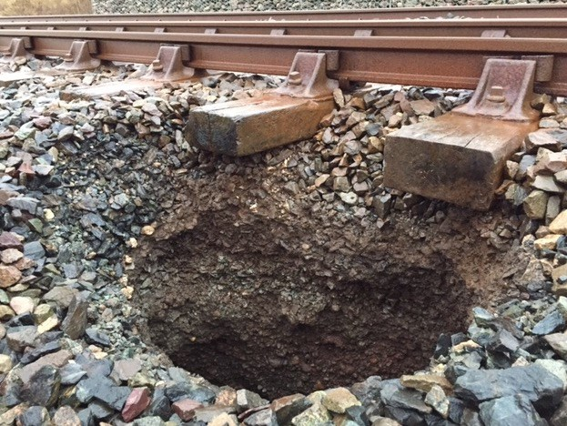 Rare sink hole on Cumbrian coast railway: Sink hole on Cumbrian coast railway