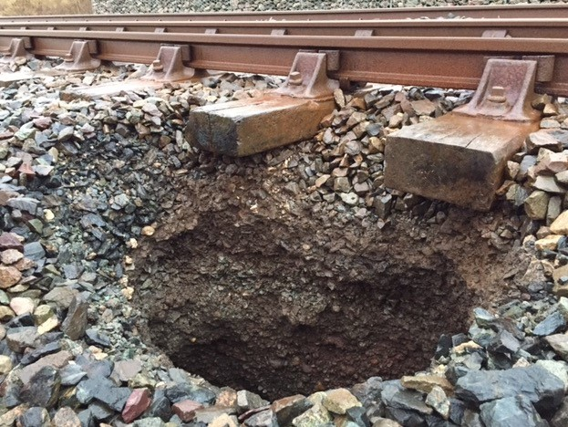 Sink hole on Cumbrian coast railway
