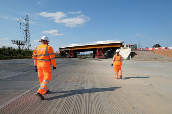 HS2 completes M42 bridge installation ahead of schedule August 2020: Credit: DRPG (M42, bridge installation, bridge, innovation) Internal Asset No. 17435