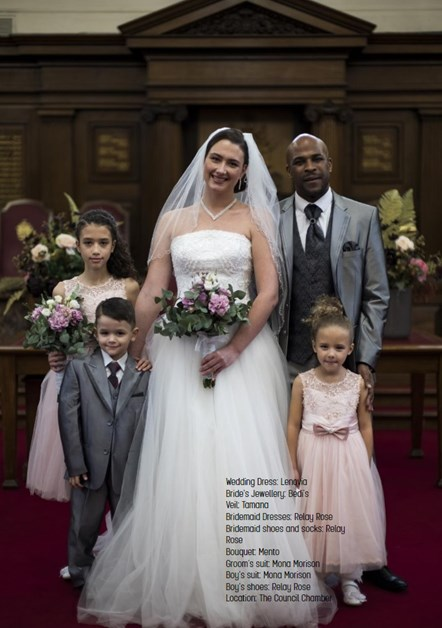 Lookbook p22: Adrian Binns (groom), Jodie Meloche (bride), and (from left) Myah, Kieran and Lexie Meloche model an entire wedding family ensemble in an image from the #FRFV lookbook.