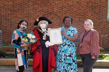 Rosalyn (Rose) Tyrell: Rosalyn Tyrell receiving her Civic Award from Islington Mayor Cllr Janet Burgess
