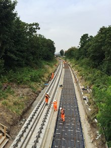 Slab track being laid on the Gospel Oak to Barking line