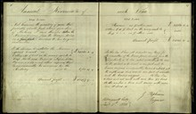 Signature pages from George Stephenson's notebook