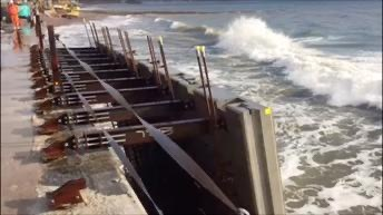 The new sea wall is taking shape