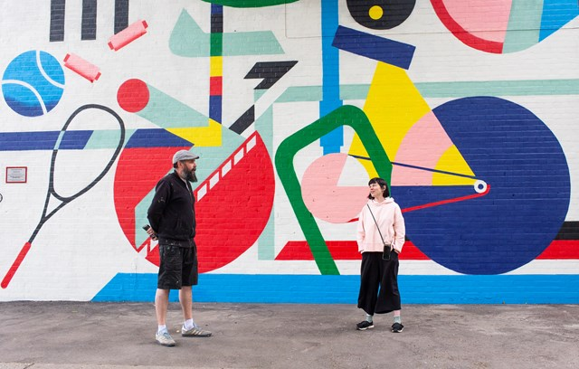 Network Rail sponsors mural by celebrated street artist Lionel Stanhope, highlighting the rich sporting history of Dulwich: Lionel & Katrina - Dulwich mural
