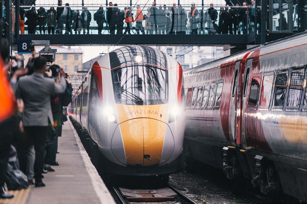 Four trains, four generations - history to be made on Yorkshire's East Coast Main Line: The Azuma at King's Cross
