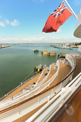 Saga Cruises' Spirit of Adventure - stern staircase and rear view