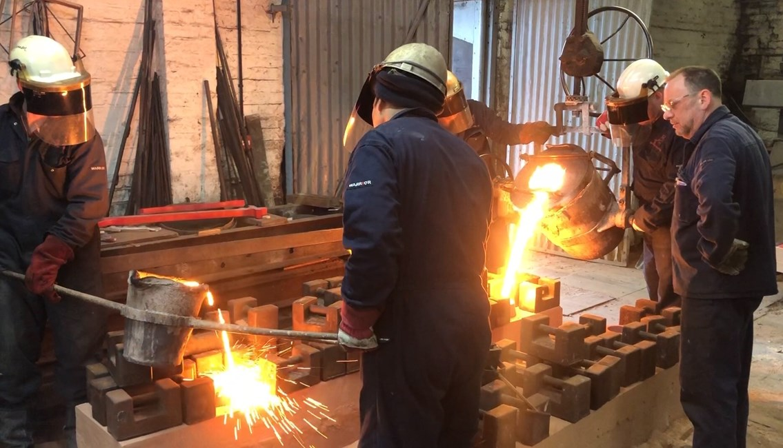 Decorative cast iron elements being moulded in Black Country foundry