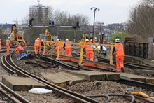 Easter 2015 New rail is pushed to site at New Cross