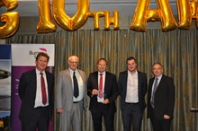 Steve Rhymes, head of network management, collects RFG Customer Care award