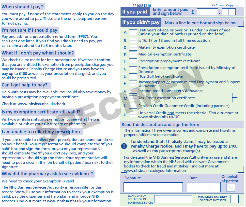 Sample image: New FP10 Paper Prescription Form