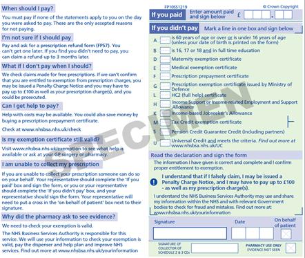 Sample image: New FP10 Paper Prescription Form