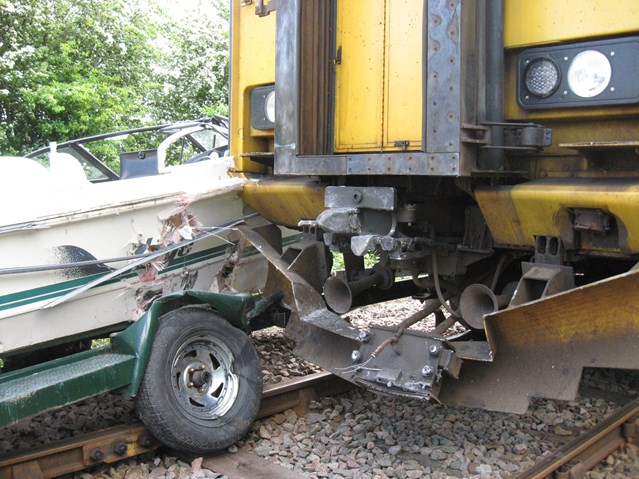 CURTAIL CRAZY DRIVING AT LEVEL CROSSINGS OR RISK MORE LIVES, SAYS RAIL CHIEF (SOUTH WEST OF ENGLAND): Boat towed by car collides with train (2), Barton-on-Humber