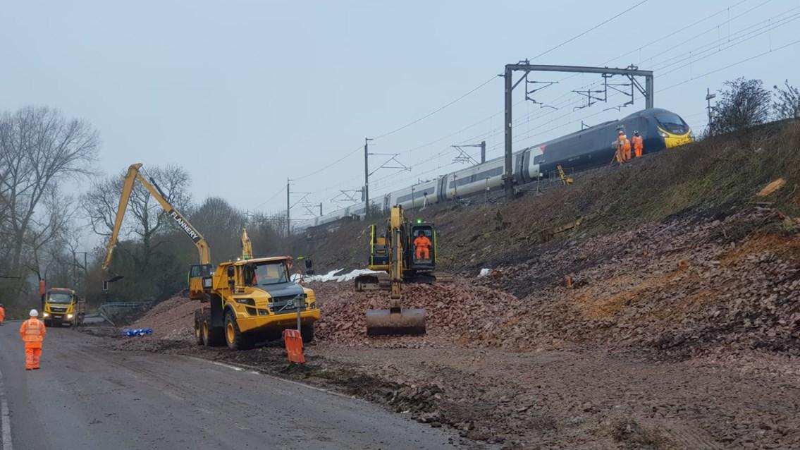 Time-lapse footage shows race to fix West Coast main line landslip: Hillmorton Junction landslip repairs February 2021