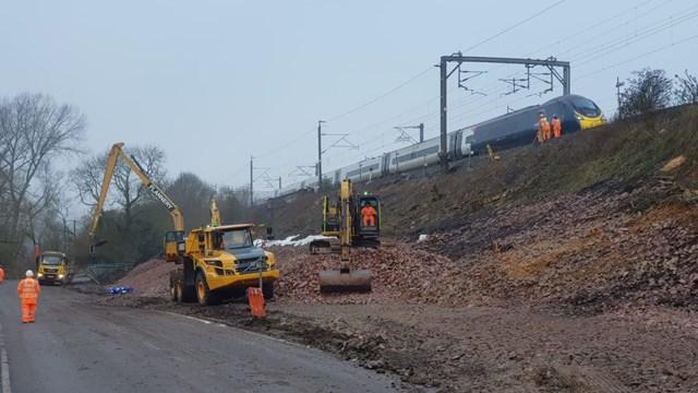 Hillmorton Junction landslip repairs February 2021
