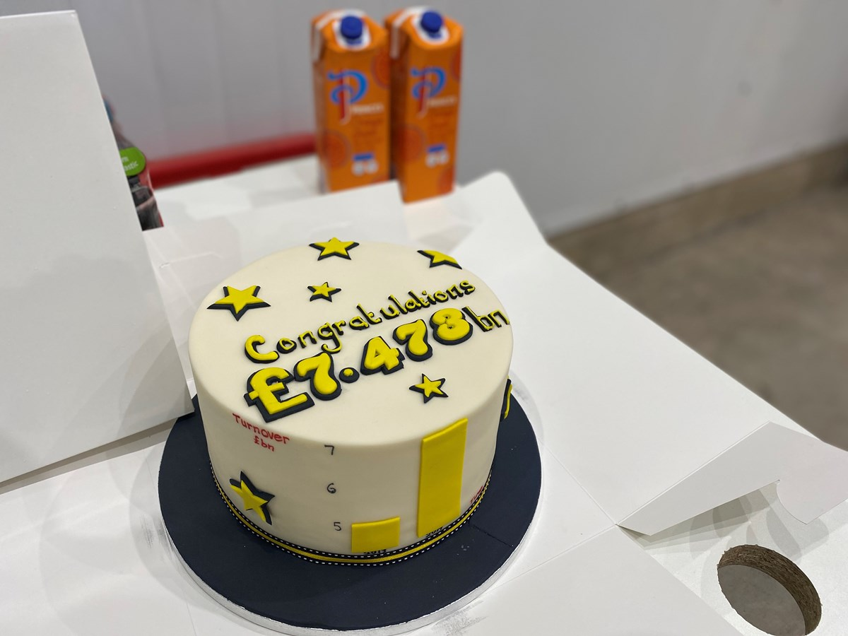 Cake congratulating Food and Drink Sector on record turnover figures