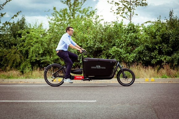 TfL Press Release - Winners announced in TfL's first Best Cargo Bike competition: TfL Image - Walking and Cycling Commissioner Will Norman using the Douze G4e